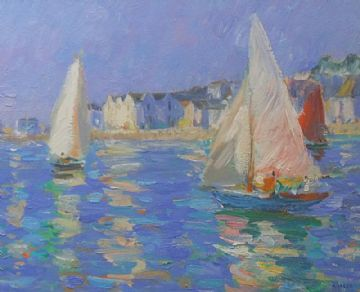Andrew Tozer Original Acrylic Painting Boats At St Mawes Cornwall